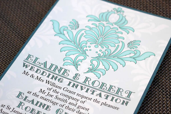 Vinatage bespoke stationery range featuring damask pattern