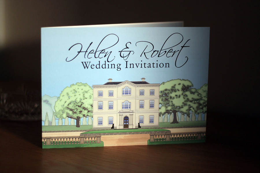 Illustrated stationery of Bridwell Park in Devon for use with wedding and event invitations and stationery