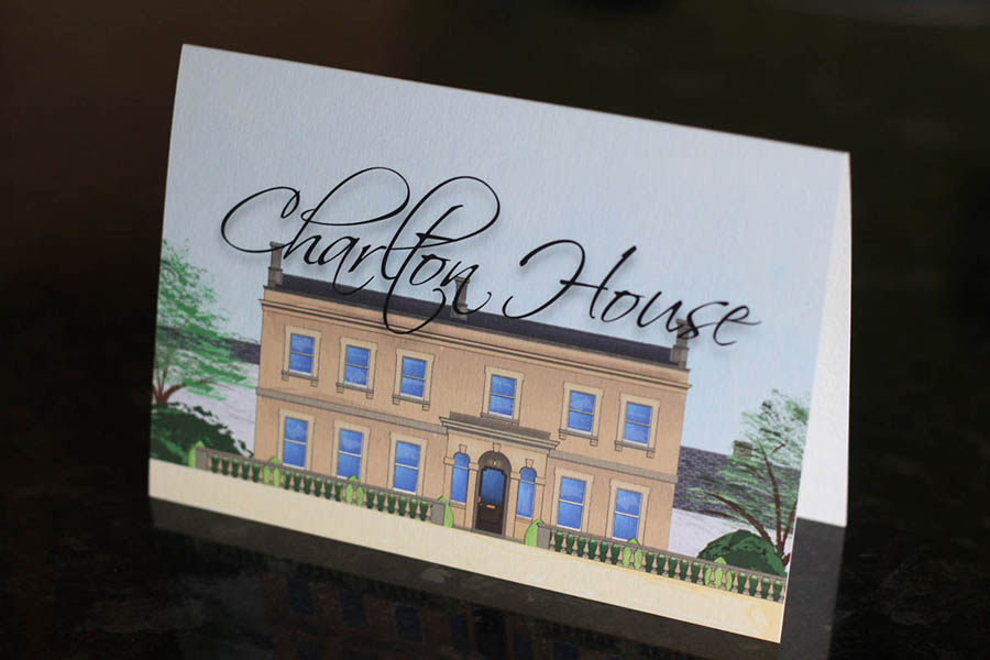 Illustrated stationery of Charlton House in Somerset for use with wedding and event invitations and stationery