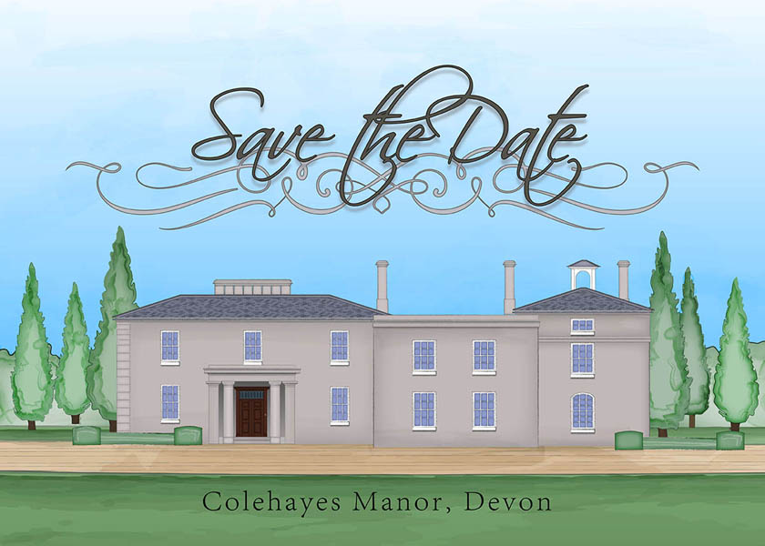 Illustrated stationery of Colehayes Park in Devon for use with wedding and event invitations and stationery