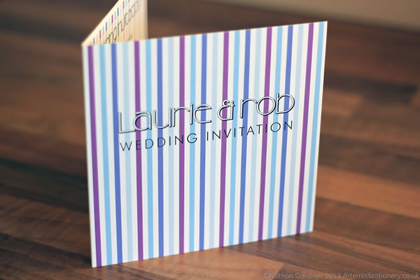 Stripey bespoke wedding invitation and stationery range in a variety of colours and fonts