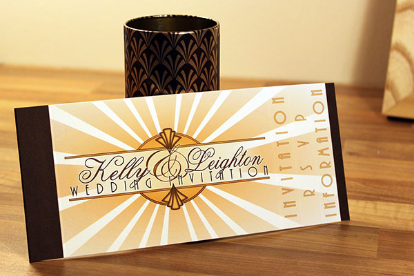 Art Deco style sun ray bespoke wedding stationery and invitation design