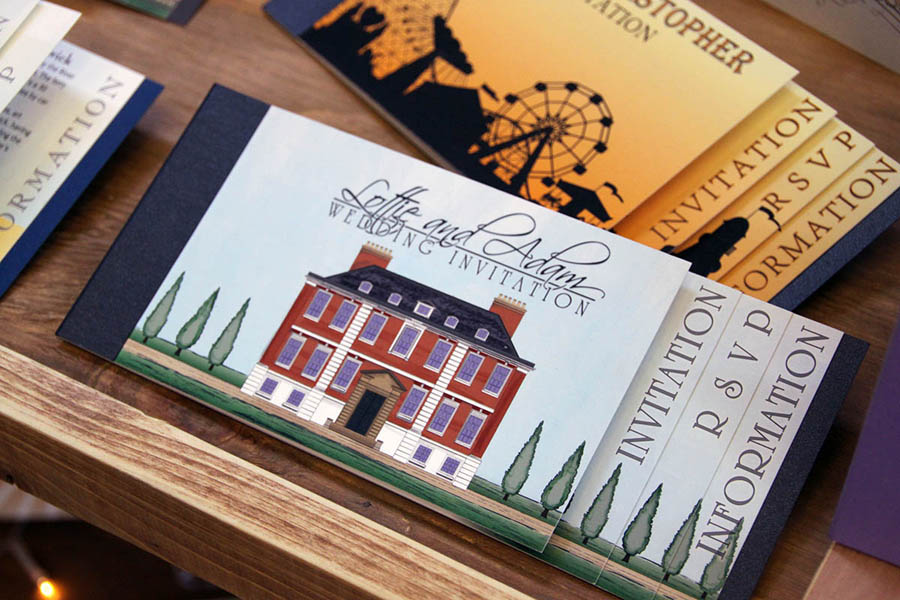 Illustrated stationery of Pynes House in Devon for use with wedding and event invitations and stationery