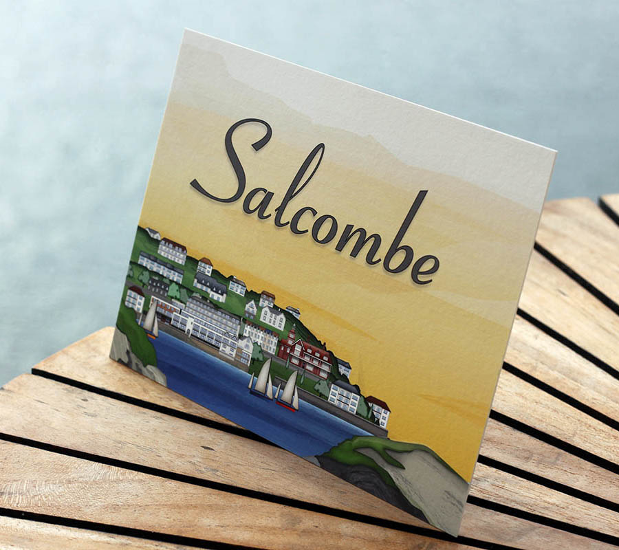 Illustrated stationery of Salcombe Harbour Hotel in Devon for use with wedding and event invitations and stationery