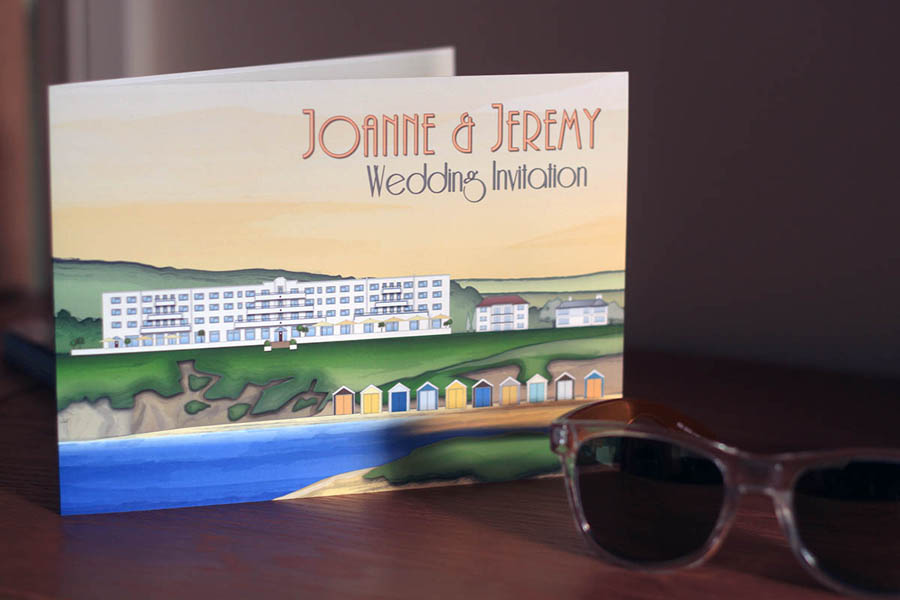 Illustrated stationery of Saunton Sands Hotel in Devon for use with wedding and event invitations and stationery