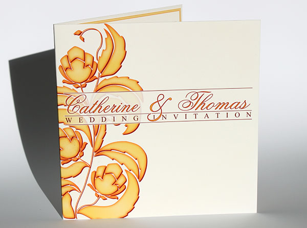 Stylised floral bespoke wedding invitation and stationery range
