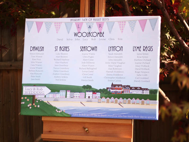 Illustrated stationery showing Woolacombe Bay Hotel in Devon for use with wedding and event invitations and stationery