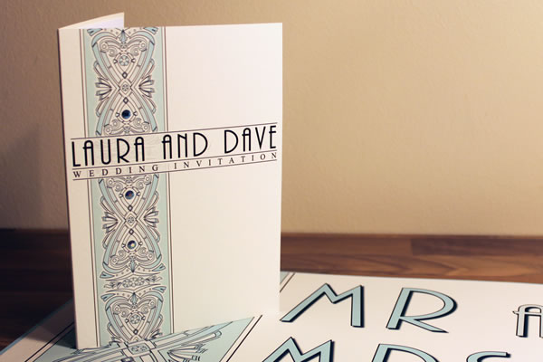 traditional folded card bespoke wedding invitations printed on high quality card and with paper inserts.