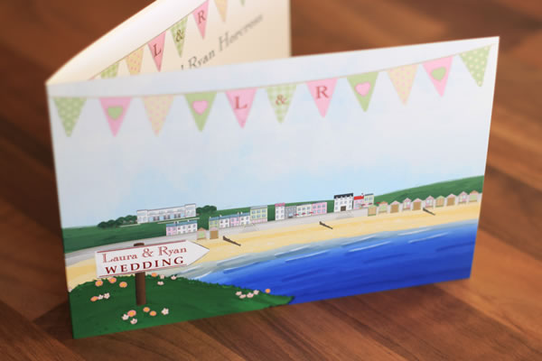 wedding stationery great for occasions by the beach or coast.  Inspired by the British seaside featuring beach huts!