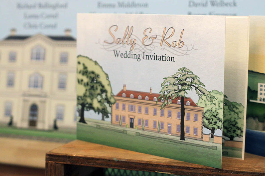 Illustrated stationery of Holbrook House in Devon for use with wedding and event invitations and stationery