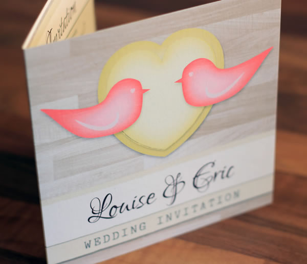 Rustic and modern Love Birds bespoke wedding stationery and invitation collection featuring wood textures.