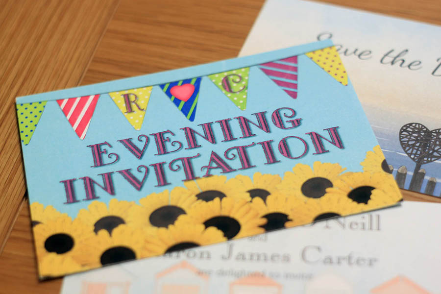 Bespoke double sided postcard invitation for weddings and other events
