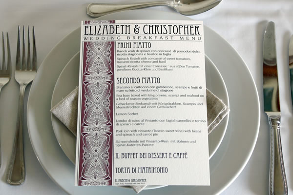 Information sheets which can be used as wedding programs, order of the day or menus