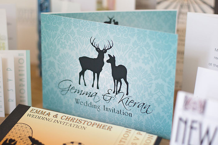 Wedding invitations and wedding stationery that features a stag or a pair of deer