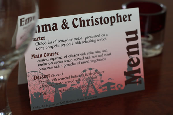 Table tents make attractive table names or table numbers or also menus, they can also have a menu on one side and name or number on the other