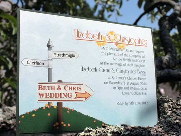 Personalised single side wedding invitations also make great save the dates and evening invitations